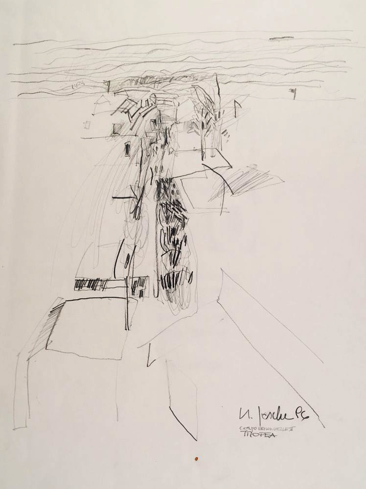 1 - Tropea Corso Vittorio Emmanuele 1 - Zeichnung Grafit auf Papier 55x42cm - 1996