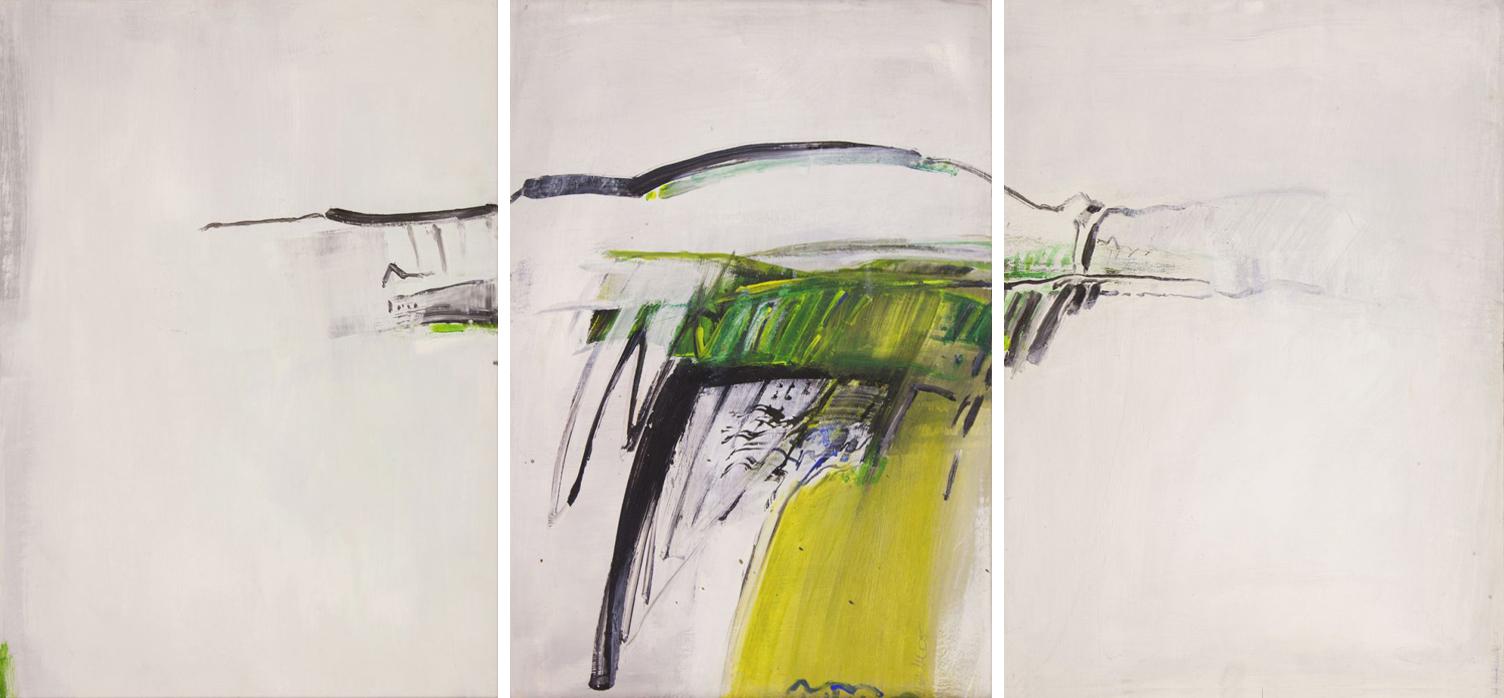 Triptychon Vulkanlandschaft Detail - Acryl auf Hartfaser weiß grundiert - 70x150 - 2015