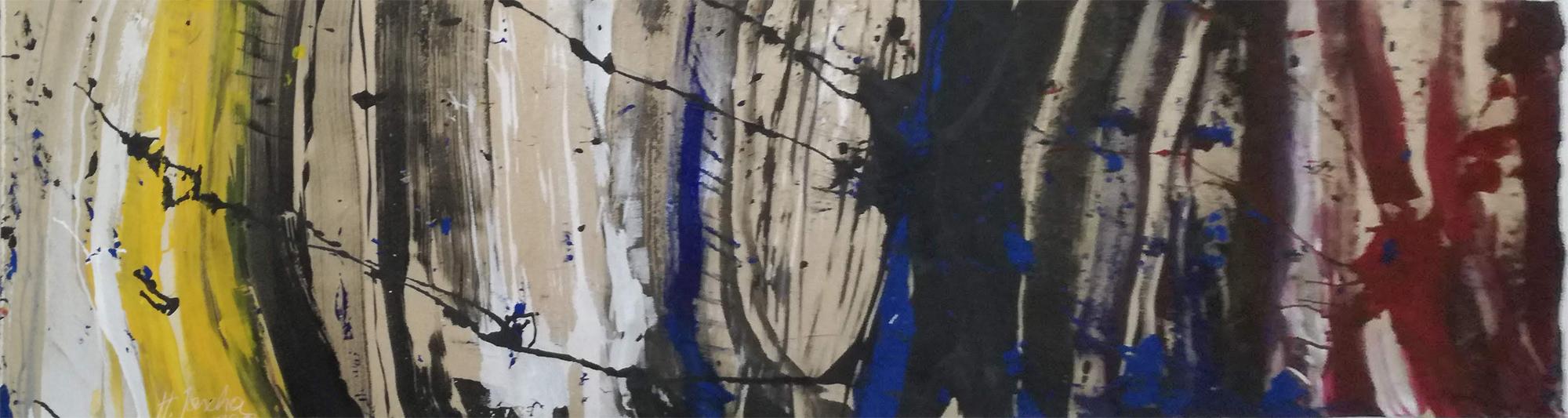 Zeitraster - Tusche und Acryl auf Leinwand 120x50cm - 2017