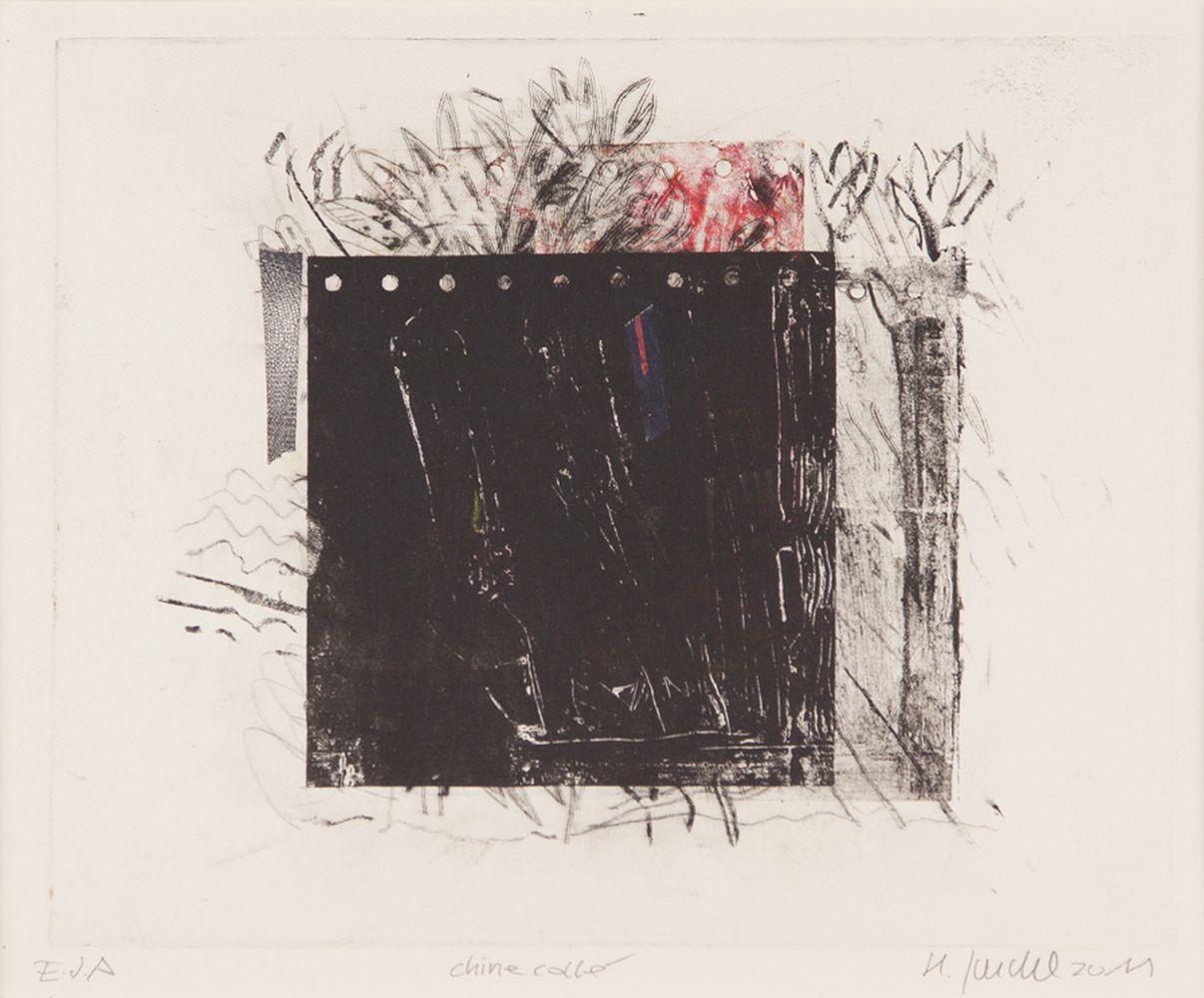 Das schwarze Quadrat - Aquatinta und Kaltnadel Chine collè auf Tiefdruckpapier 55x40cm - 2011