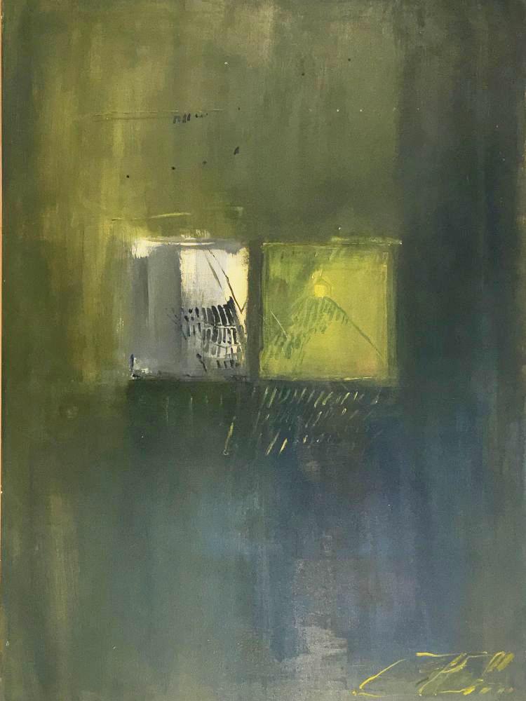 3 - Fenster Einblick Ausblick Abtei Seckau - kontemplative Malerei Acryl auf Hartfaser weiß grundiert 100x70cm - 2014